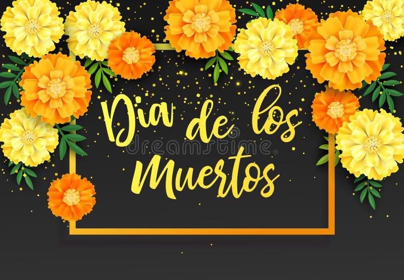 Fundo decorativo com cravos-de-defunto alaranjados, símbolo do dia mexicano do feriado dos mortos Ilustração do vetor ilustração do vetor