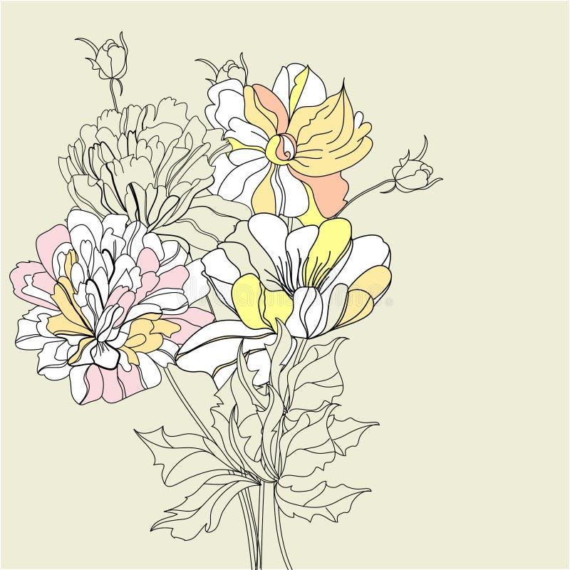 Fundo decorativo com flores ilustração do vetor
