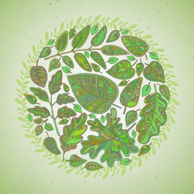 Fundo decorativo com folhas ilustração royalty free