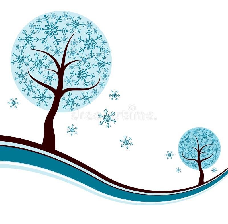 Fundo decorativo da árvore do inverno,   ilustração stock