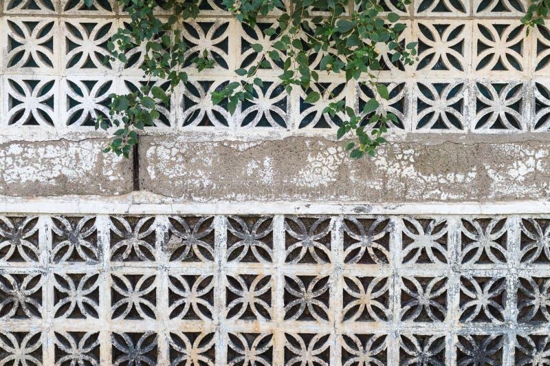 Fundo decorativo da parede dos blocos de cimento foto de stock