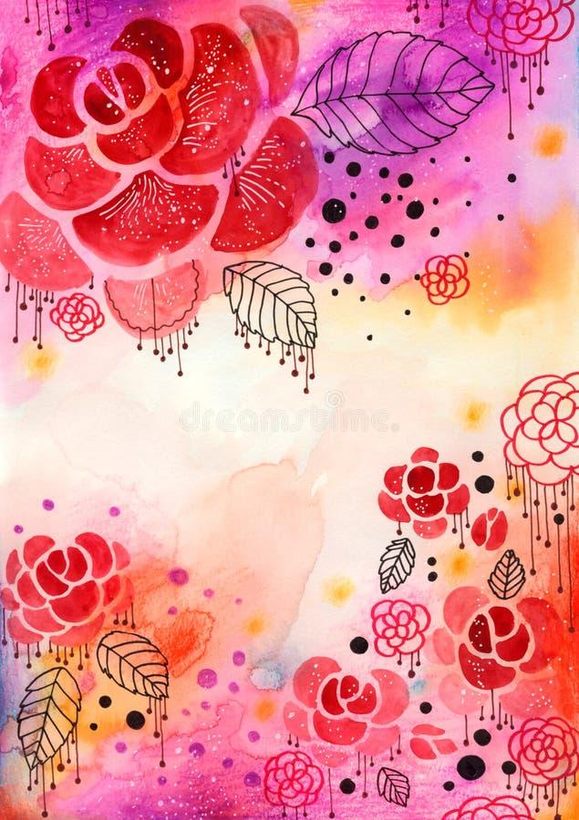 Fundo decorativo das rosas ilustração stock
