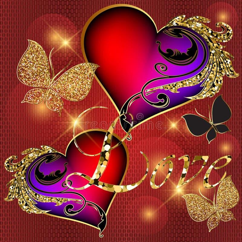 Fundo decorativo do amor do vetor 3d do vintage Glittery Contexto textured vermelho brilhante do dia de Valentim Borboletas brilh ilustração do vetor