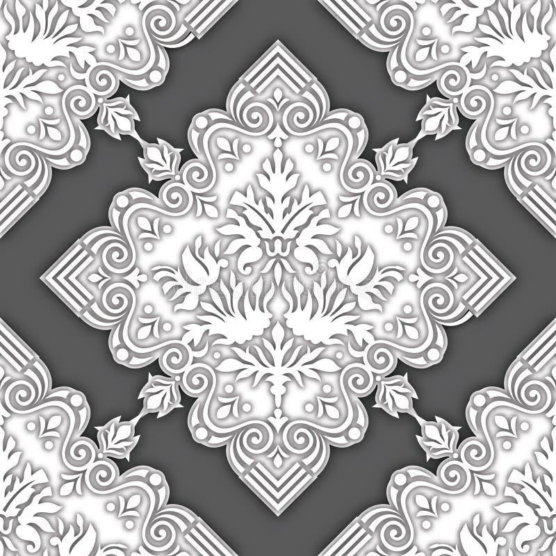 Fundo decorativo do damasco sem emenda para papéis de parede ilustração royalty free