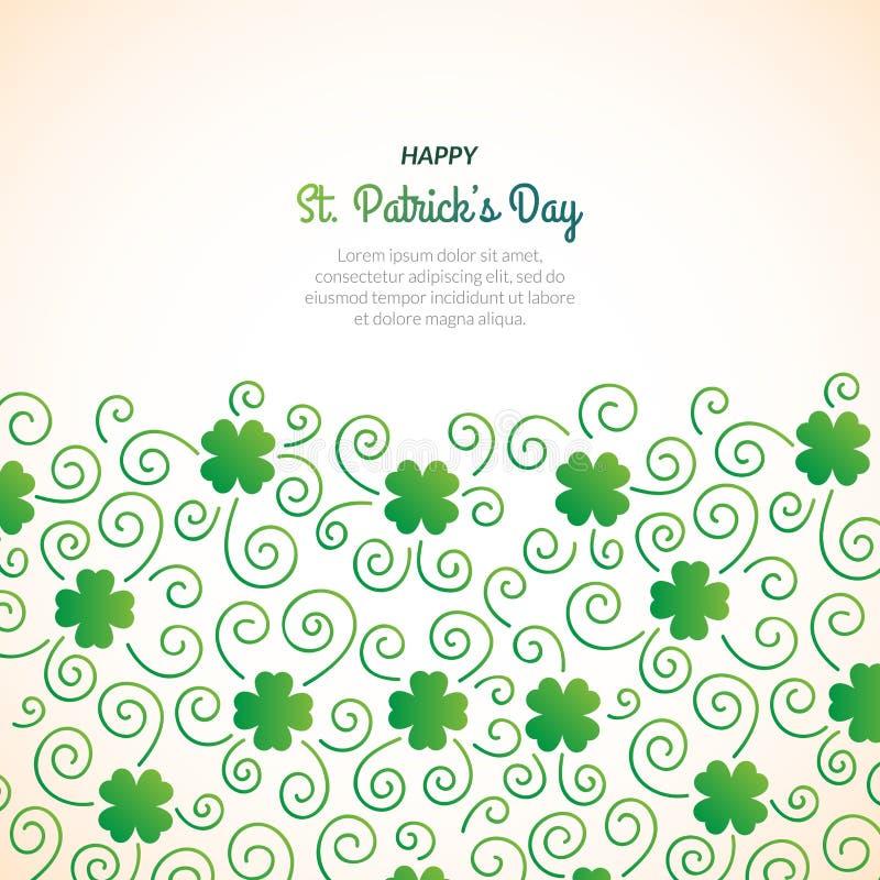 Fundo decorativo do dia do ` s de St Patrick com muitos trevos ilustração stock