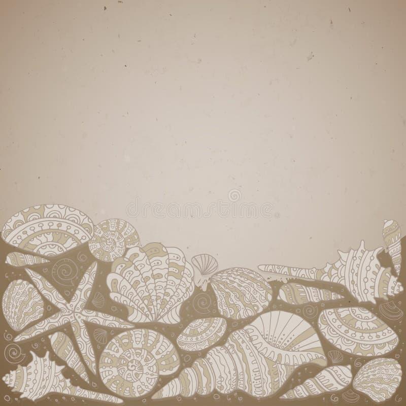 Fundo decorativo do vetor com conchas do mar bonitas ilustração stock