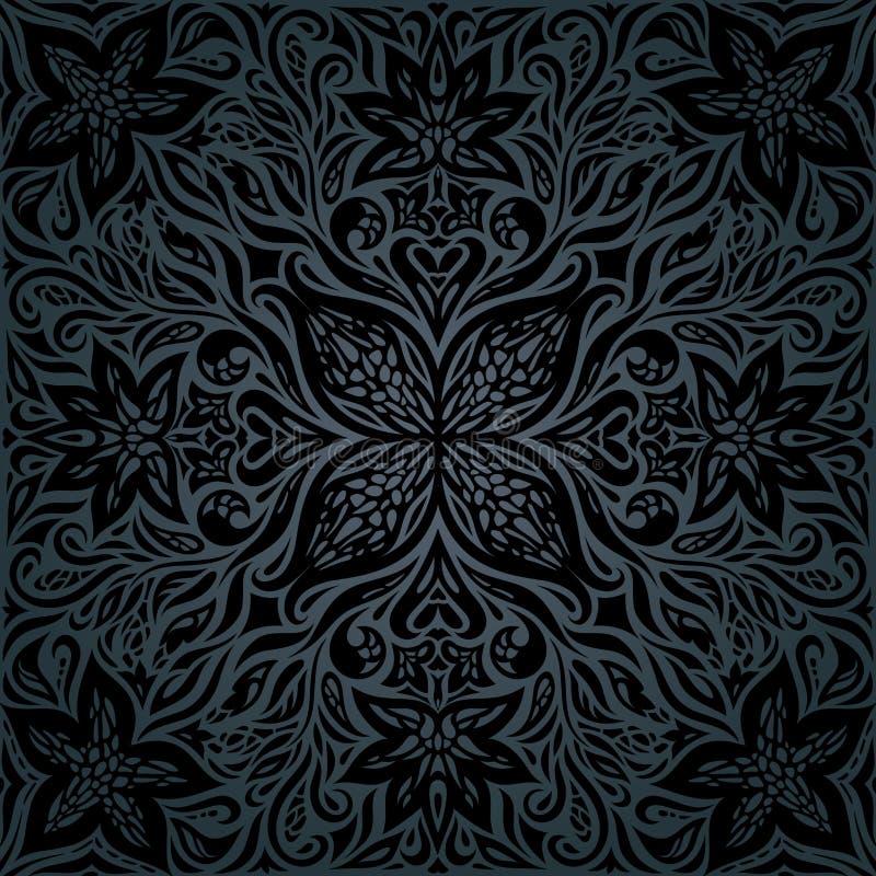 Fundo decorativo floral do vintage das flores ornamentados pretas ilustração do vetor