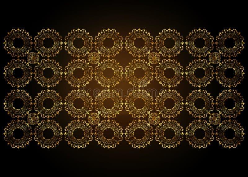 Fundo decorativo luxuoso do projeto do bordado do ouro Moldes do projeto do vetor Cart?o com o ornamento floral do c?rculo dourad ilustração stock