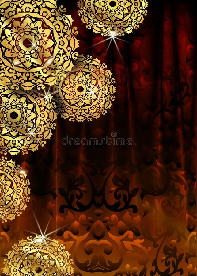 Fundo decorativo luxuoso do projeto da mandala na cor do ouro Moldes do projeto do vetor Cartão com o ornamento floral do círculo ilustração royalty free