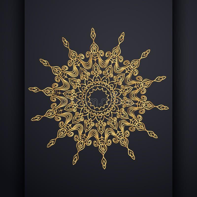 Fundo decorativo luxuoso do projeto da mandala do vetor na cor do ouro Vetor oriental, testes padr?es da terapia do Anti-esfor?o  ilustração royalty free