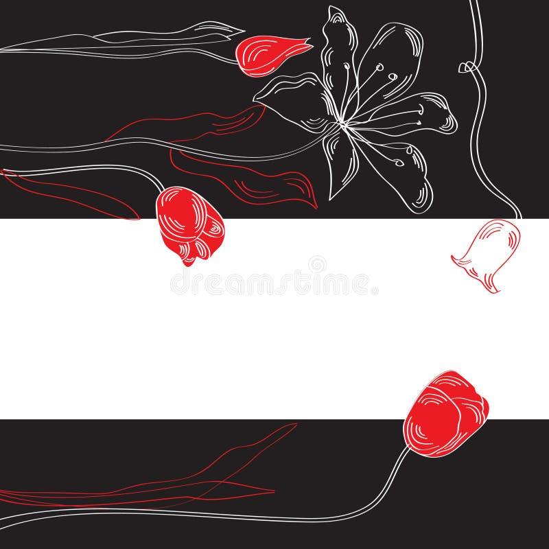 Fundo decorativo preto e branco com tulips ilustração royalty free