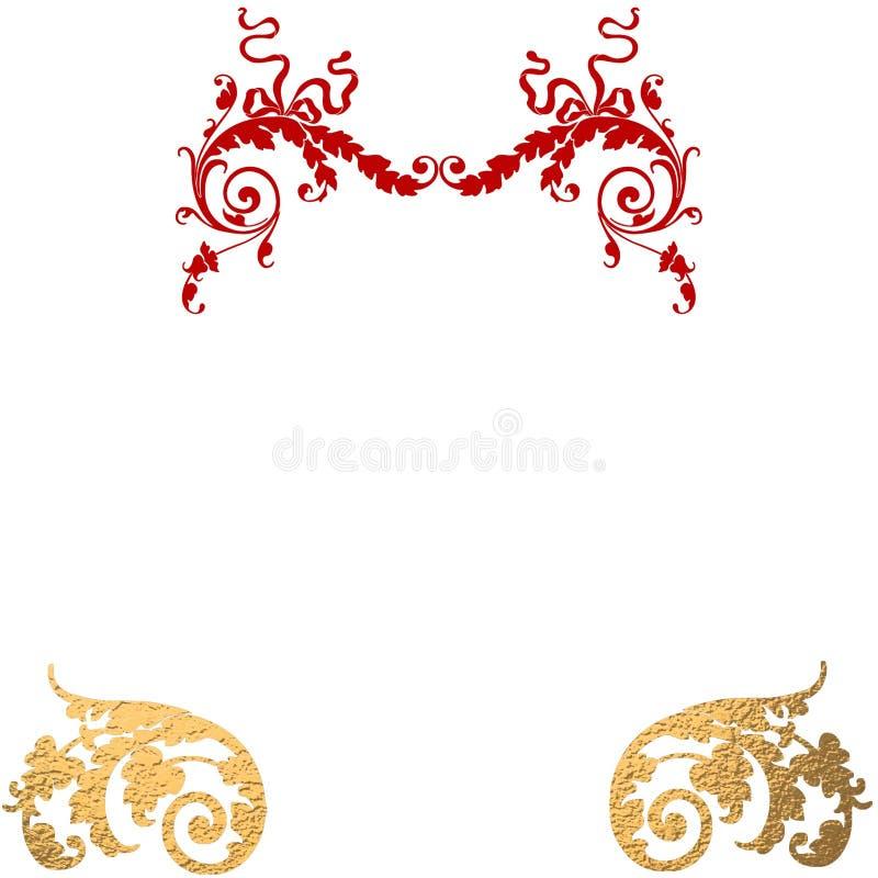 Fundo decorativo vermelho do ouro ilustração do vetor