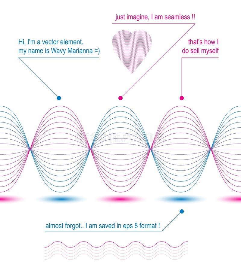 Fundo delgado do motivo de matéria têxtil 3d, coração com fl listrado curvado ilustração do vetor