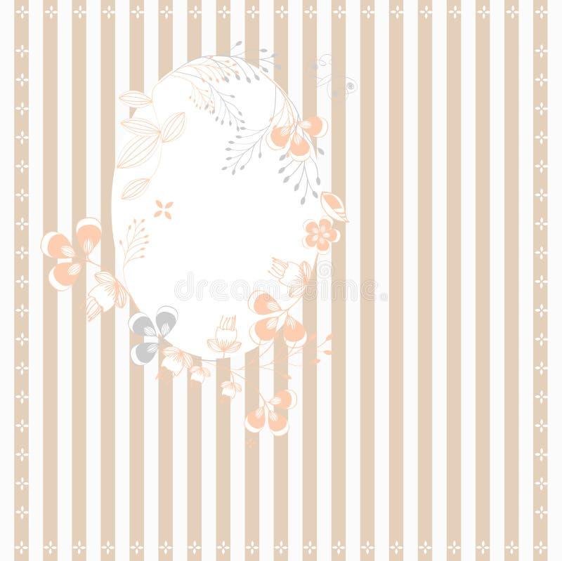 Fundo descascado com frame floral ilustração royalty free