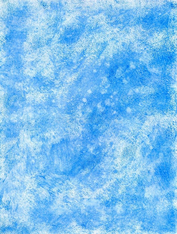 Fundo desenhado à mão azul da aquarela do inverno estrutural abstrato ilustração stock
