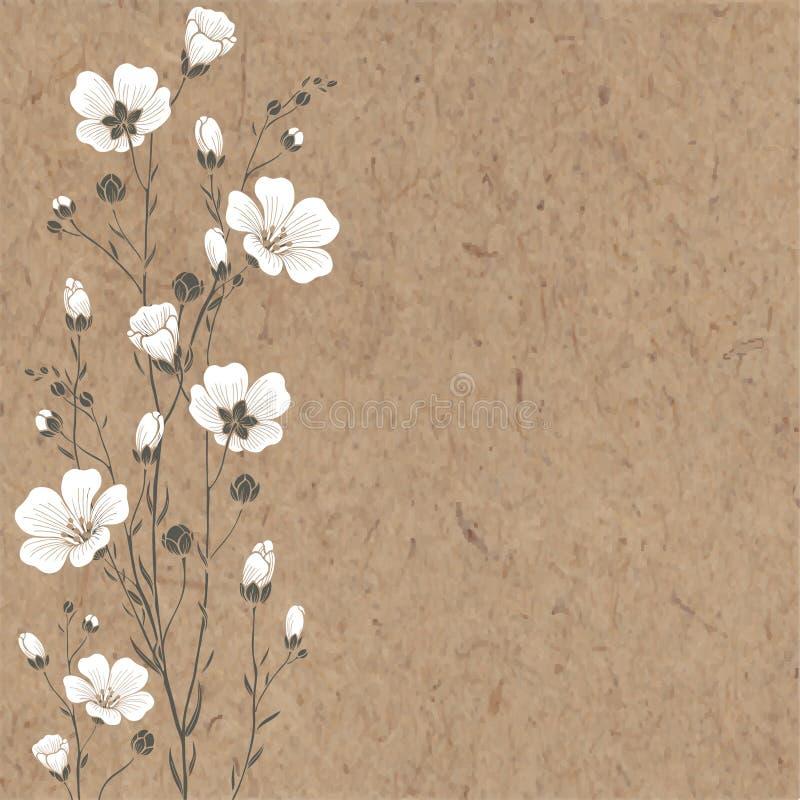 Fundo desenhado à mão com flores e espaço do linho ilustração royalty free