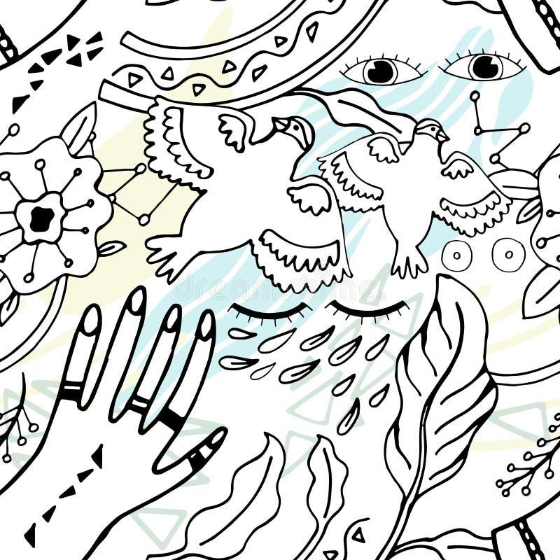 Fundo desenhado à mão da ilustração da paz do teste padrão Esboço da garatuja ilustração do vetor