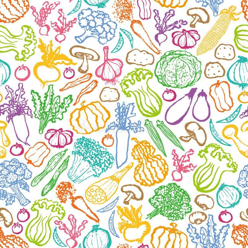 Fundo desenhado à mão dos vegetais ilustração royalty free