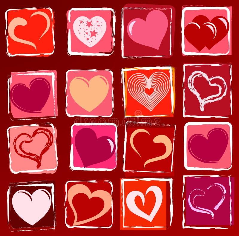 Fundo desenhado dos corações ilustração stock