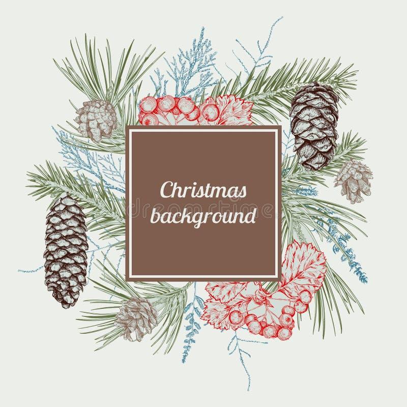 Fundo desenhado mão do Natal ilustração royalty free