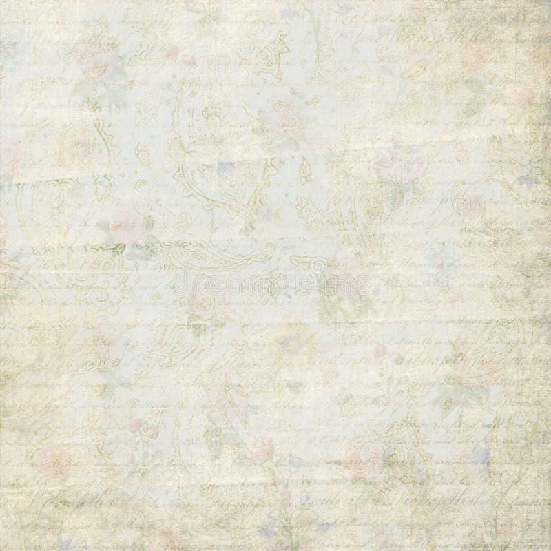 Fundo desvanecido gasto do papel do teste padrão do ornamento de paisley da flor do vintage ilustração stock