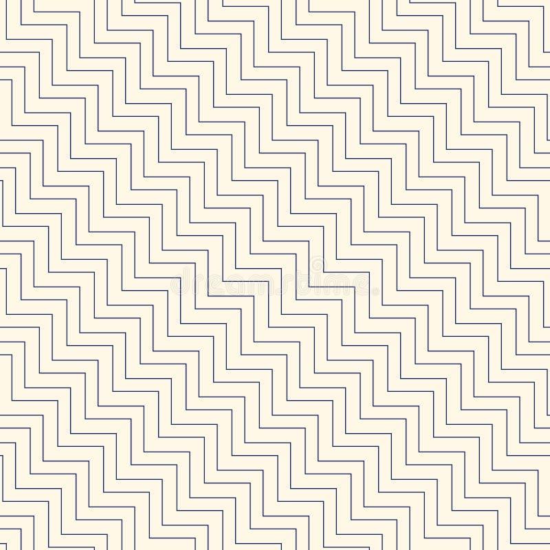 Fundo diagonal do sumário do ziguezague da viga do esboço Teste padrão sem emenda com o ornamento geométrico simétrico ilustração royalty free