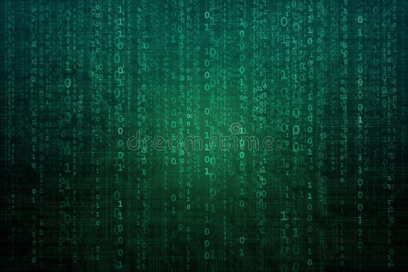 Fundo digital abstrato com código binário Hacker, darknet, realidade virtual e ficção científica ilustração do vetor