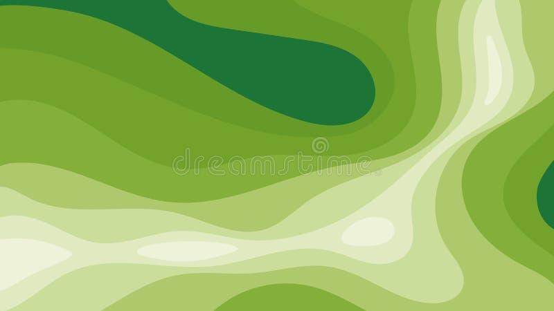 Fundo digital abstrato com muitos níveis de superfície verde ilustração stock