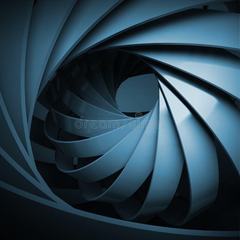 Fundo digital abstrato com obscuridade - espiral 3d azul ilustração do vetor