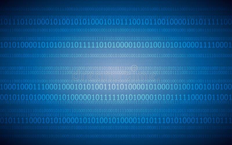 Fundo digital abstrato com teste padrão de código binário na obscuridade - cor azul ilustração royalty free