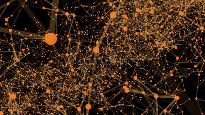 Fundo digital abstrato, efeito do plexo Fundo poligonal abstrato com pontos e linhas de conexão Tecnologia da conexão ilustração do vetor