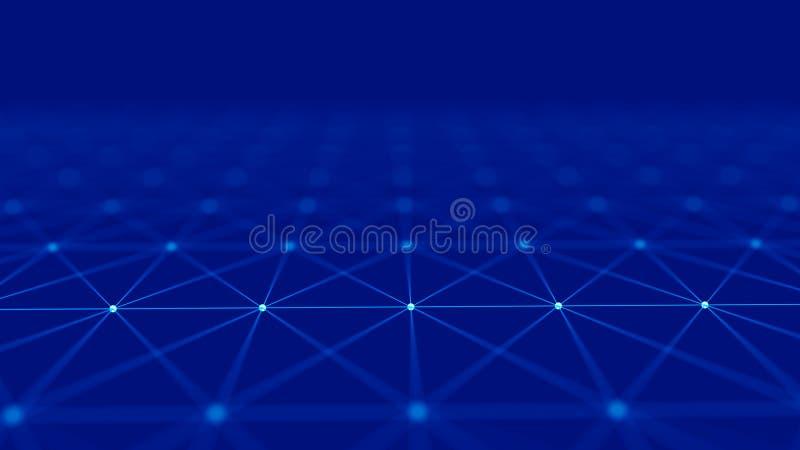 Fundo digital abstrato Visualiza??o grande dos dados Estrutura da conex?o de rede Fundo da ci?ncia rendi??o 3d ilustração do vetor