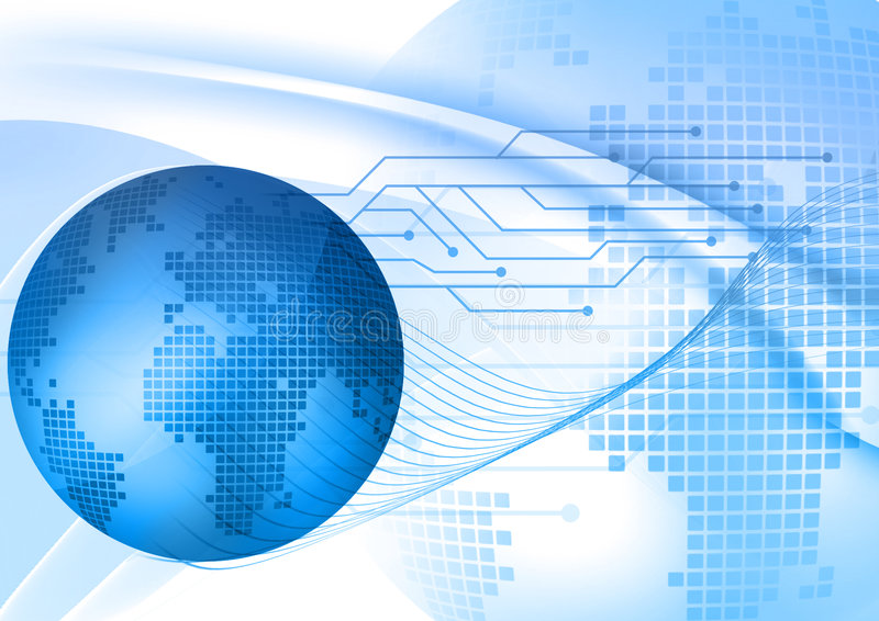 Fundo digital azul abstrato ilustração stock