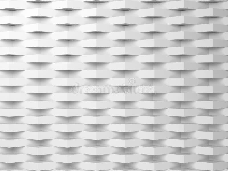 Fundo digital branco abstrato, teste padrão 3d ilustração do vetor