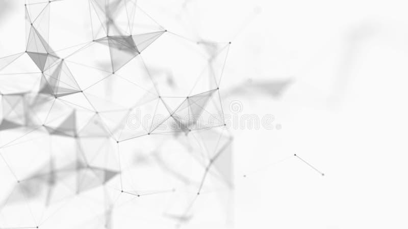Fundo digital branco abstrato Visualiza??o grande dos dados Fundo da ci?ncia Complexo grande dos dados com compostos Alinha o ple ilustração stock