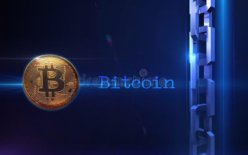 Fundo digital da moeda do bitcoin dourado imagens de stock