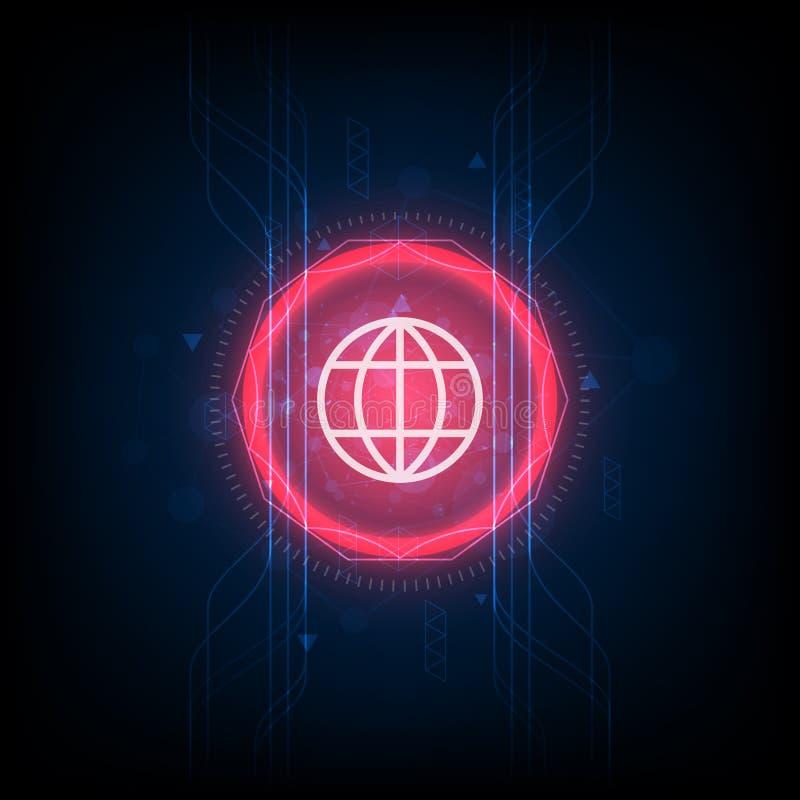 Fundo digital da telecomunicação do sumário global futurista da rede informática da tecnologia ilustração stock