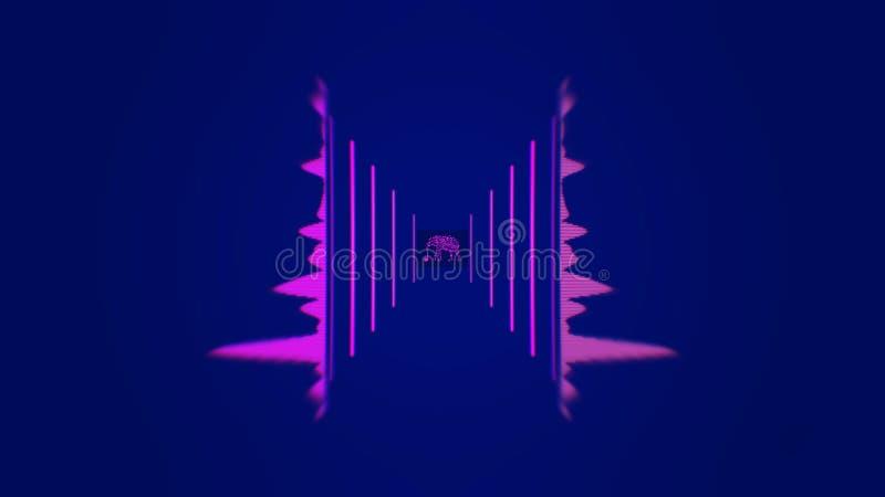 Fundo digital de incandesc?ncia da anima??o do espectro animation Animação abstrata da banda sonora ilustração royalty free
