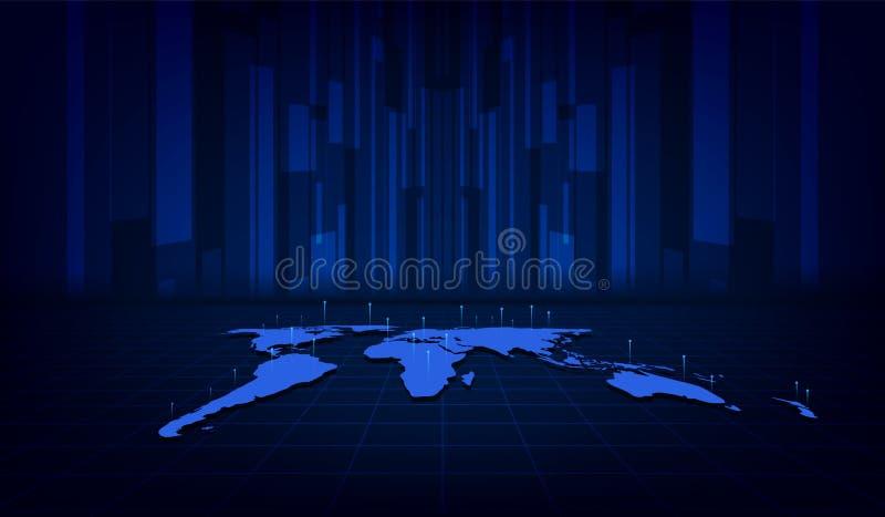 Fundo digital do conceito da inovação da tecnologia do teste padrão da textura do mapa do mundo abstrato ilustração royalty free