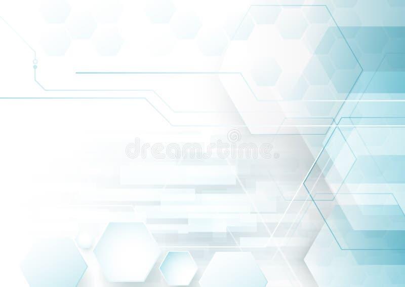 Fundo digital do conceito dos hexágonos da tecnologia da tecnologia abstrata olá! ilustração do vetor