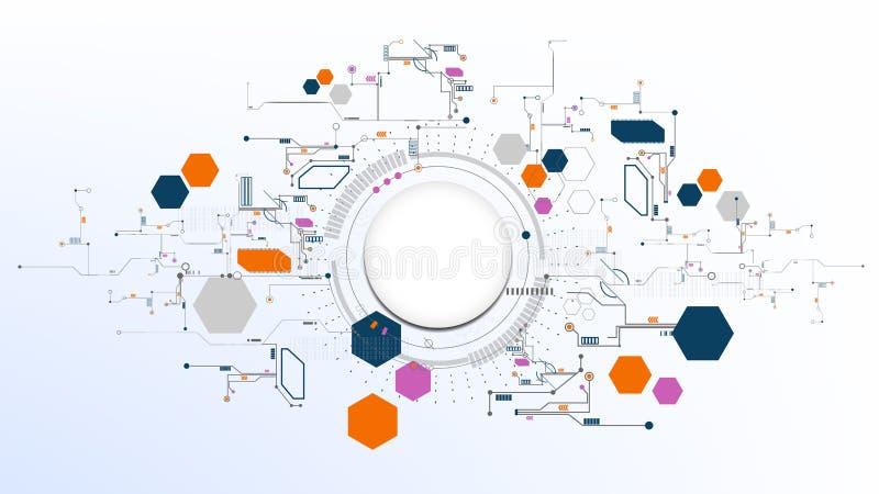 Fundo digital moderno abstrato tecnologico da placa do elemento ilustração stock