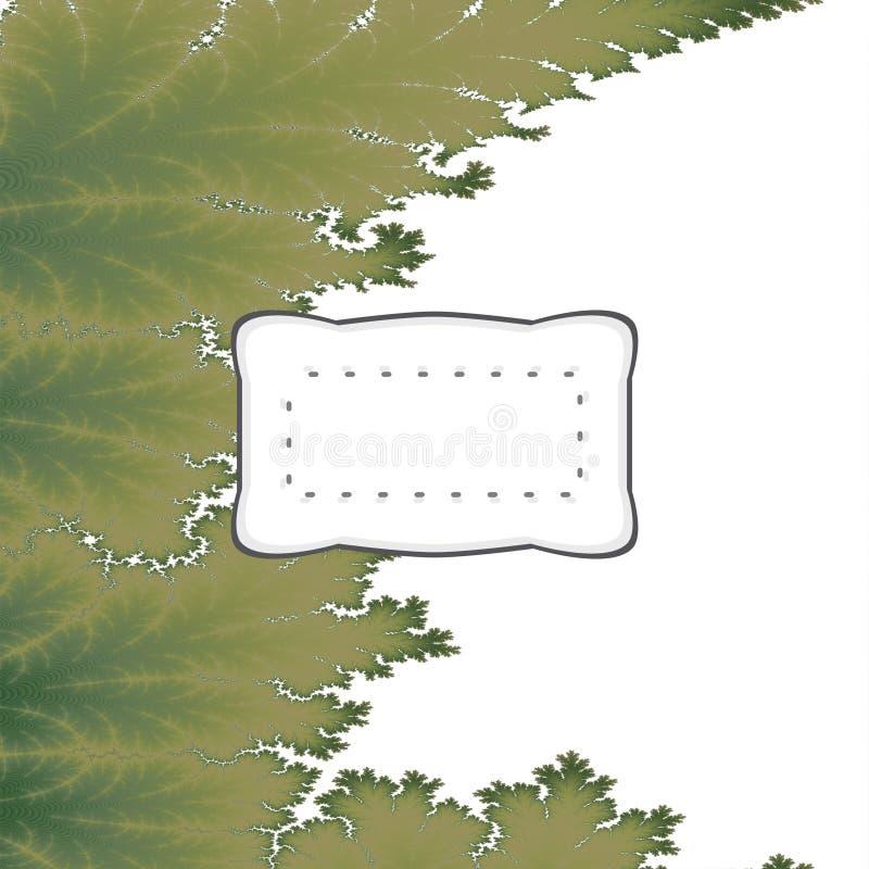 Fundo digital verde da folha do fractal com etiqueta retro ilustração stock