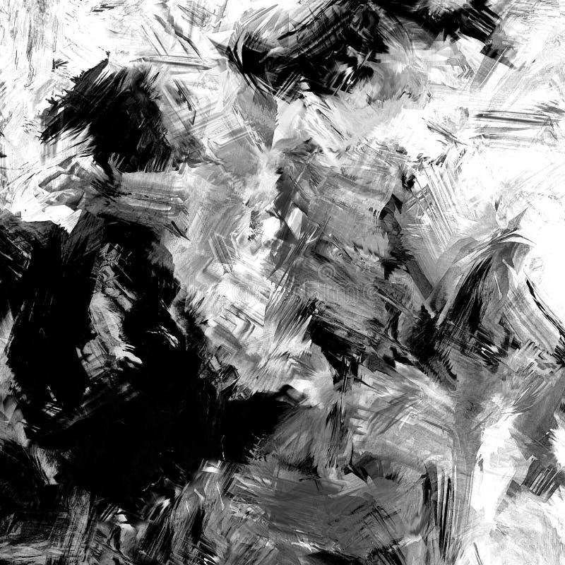 Fundo dinâmico manchado e listrado do grunge preto e branco abstrato ilustração do vetor