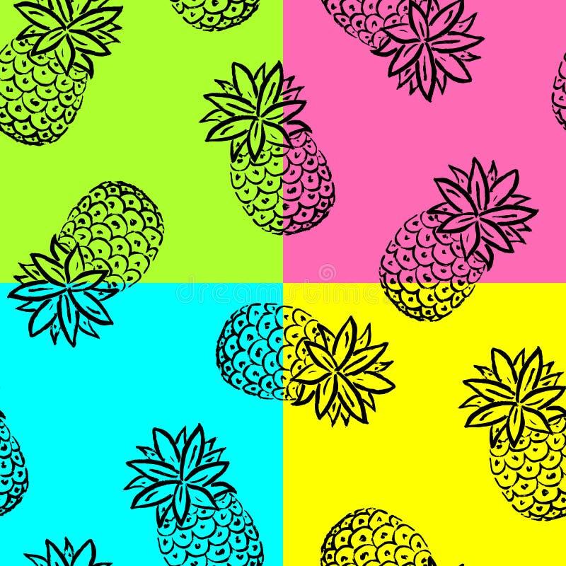 Fundo do abacaxi da tração da mão ilustração do vetor