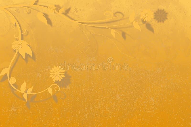 fundo do Alaranjado-ouro com ramos e as flores ondulados no canto ilustração royalty free