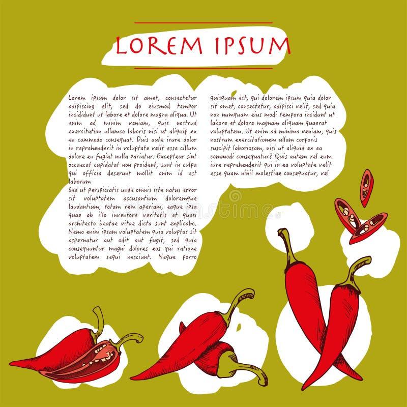 Fundo do alimento com molde social verde tirado dos meios da pimenta de pimentão mão vegetal com texto ilustração do vetor