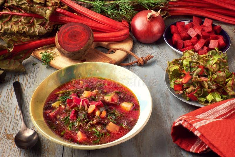 Fundo do alimento da mola: sopa com raiz da beterraba e fresco vegetais imagem de stock