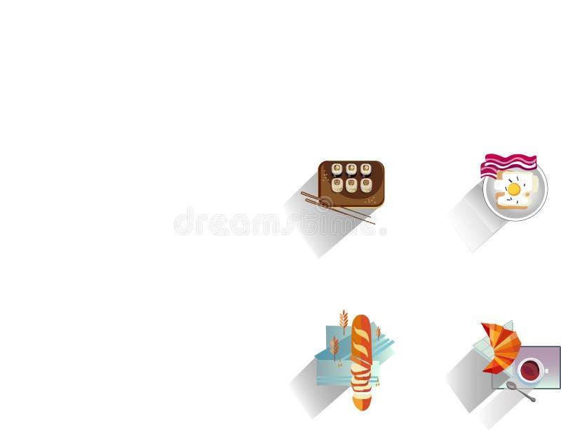 Fundo do alimento - grupo de alimento, de ovos fritos e de pão japoneses fotos de stock royalty free