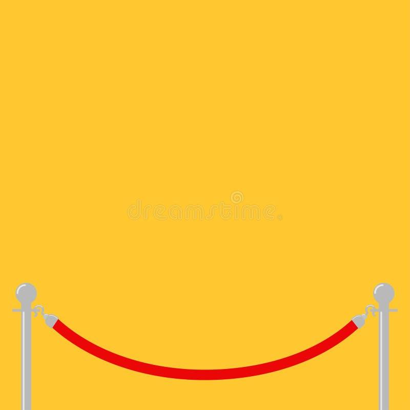 Fundo do amarelo do facecontrol do torniquete dos postes da barreira da corda vermelha molde Projeto liso ilustração stock