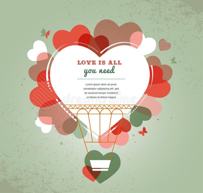 Fundo do amor - balão de ar quente da forma do coração ilustração royalty free